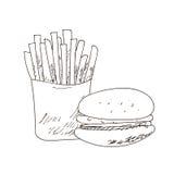 Grupo de desenhos de esboço desenhados à mão do fastfood no fundo branco , sanduíche, hamburguer Linhas pretas ilustração royalty free
