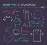 Grupo de desgaste masculino na moda e de acessórios Lineart Fotografia de Stock Royalty Free