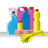 Grupo de detergentes y productos de limpieza de discos Foto de archivo
