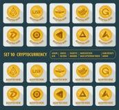 Grupo de dez ícones diferentes do cryptocurrency em um fundo claro ilustração stock
