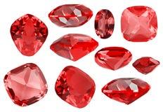 Grupo de dez gemas vermelhas do rubi no branco Foto de Stock Royalty Free