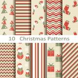 Grupo de dez testes padrões do Natal Imagem de Stock Royalty Free