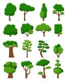 Grupo de dezesseis árvores do vetor ilustração stock