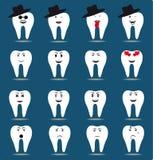 Grupo de dezesseis ícones do dente Fotografia de Stock