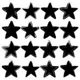 Grupo de dezesseis estrelas do vetor do grunge Fotos de Stock