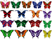 Grupo de dezessete borboletas coloridas Fotos de Stock Royalty Free