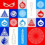 Grupo de dezoito objetos em um tema do Natal Imagem de Stock Royalty Free