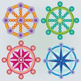 Grupo de Dharma Wheels - símbolo do budismo - cores Imagens de Stock Royalty Free