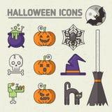 Grupo de Dia das Bruxas de crachás e de ícones Imagem de Stock