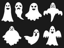 Grupo de Dia das Bruxas dos fantasmas brancos Fotografia de Stock Royalty Free