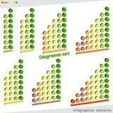 Grupo de diagrama isométrico esquerdo-tomado partido com círculos volumétricos dos níveis gráficos 3D elementos coloridos do info ilustração stock