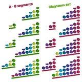 Grupo de diagrama isométrico esquerdo-tomado partido com círculos volumétricos dos níveis gráficos 3D elementos coloridos do info ilustração do vetor