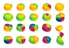 Grupo de diagramas de torta 3D Imagens de Stock Royalty Free