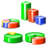 Grupo de diagramms coloridos diferentes com sombras Fotos de Stock Royalty Free
