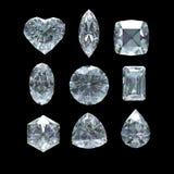 Grupo de diamante cortado con la trayectoria de recortes Fotos de archivo libres de regalías