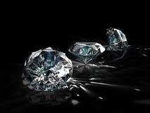Grupo de diamantes no fundo preto Efervescência bonita que brilha a imagem esmeralda da forma redonda com superfície reflexiva 3d ilustração stock