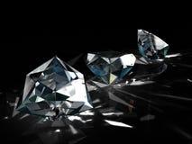 Grupo de diamantes no fundo preto Efervescência bonita que brilha a imagem esmeralda da forma redonda com superfície reflexiva 3d ilustração do vetor