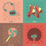 Grupo de Dicso Doces, rolos, peruca, vidros, jogador Foto de Stock