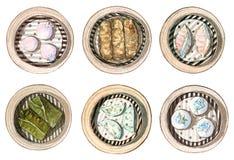 Grupo de dim sum chinês do alimento da aquarela Imagens de Stock Royalty Free