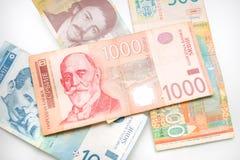 Grupo de dinares servios Imagen de archivo