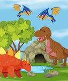 Grupo de dinosaurio en naturaleza ilustración del vector