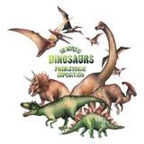 Grupo de dinossauros da aquarela ilustração do vetor