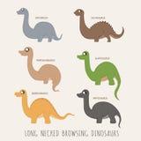 Grupo de dinossauros necked longos da consultação ilustração royalty free