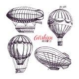 Grupo de dirigíveis do vintage ilustração royalty free