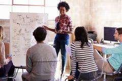 Grupo de diseñadores que tienen sesión de la reunión de reflexión en oficina Fotografía de archivo
