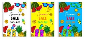Grupo de disposição da venda do verão para o disconto do comprovante da bandeira Vetor Imagens de Stock