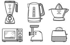 Grupo de dispositivos de cozinha ao estilo da linha arte Foto de Stock Royalty Free