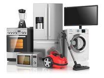 Grupo de dispositivos de cozinha do agregado familiar foto de stock