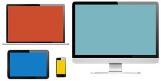 Grupo de dispositivos de Digitaces con las pantallas coloridas ilustración del vector