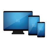 Grupo de dispositivos digitais modernos Vetor Fotos de Stock Royalty Free