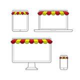 Grupo de dispositivos digitais para a compra em linha ilustração do vetor