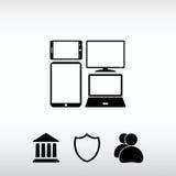 Grupo de dispositivos eletrónicos ícone, ilustração do vetor Projeto liso Imagens de Stock Royalty Free