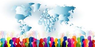 Grupo de diversa gente Muchedumbre de gente étnica que se une Diversidad de la gente comunidad Perfiles coloreados w de la siluet stock de ilustración