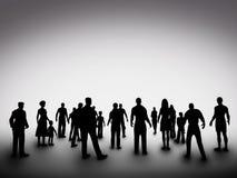 Grupo de diversas siluetas de la gente sociedad Fotografía de archivo libre de regalías