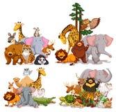 Grupo de diversos tipos de animales ilustración del vector