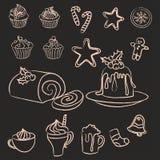 Grupo de doces, de bolos e de bebidas tirados mão do Natal imagens de stock royalty free