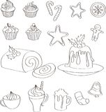 Grupo de doces, de bolos e de bebidas tirados mão do Natal ilustração stock