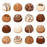 Grupo de doces de chocolate Ilustração do vetor Imagens de Stock