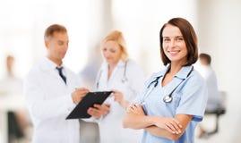 Grupo de doctores en hospital Fotos de archivo