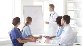 Grupo de doctores en la presentación en el hospital metrajes