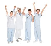 Grupo de doctores felices Foto de archivo