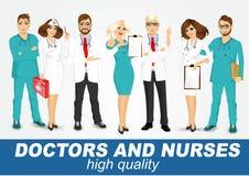 Grupo de doctores y de enfermeras fijados ilustración del vector