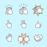 Grupo de dois ícones das mãos Aperto de mão, aplaudindo Foto de Stock