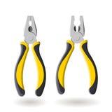 Grupo de dois alicates amarelos isolados no fundo branco, ilustração realística Fotos de Stock Royalty Free