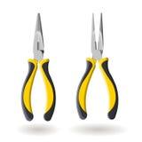 Grupo de dois alicates longos amarelos do nariz isolados no fundo branco, ilustração realística Imagens de Stock Royalty Free
