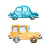 Grupo de dois carros no fundo branco Imagem de Stock Royalty Free